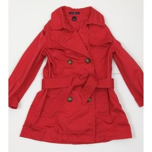 GAP red trench coat size small
